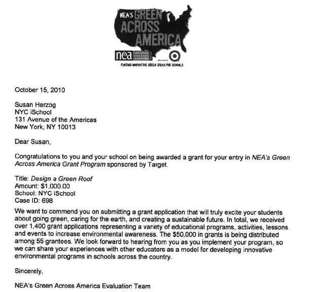 NEA-Green-Across-America-Award-Letter