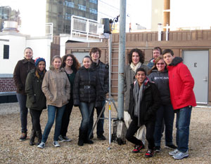 Green Roof Leadership Team with the rooftop weather station they proudly assembled and set up