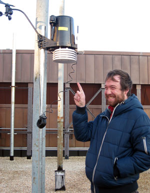 Mr. Mulroy is really happy about the new iSchool weather station.